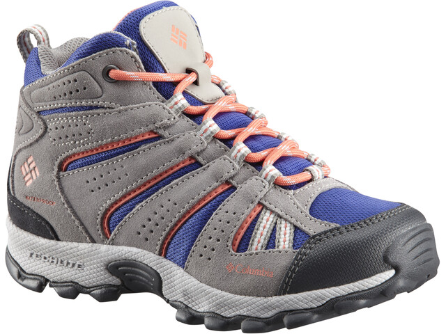 Columbia North Plains Mid Waterproof Chaussures Enfant, clematis blue/melonade